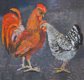 Standing rooster and hen, oil painting picture Royalty Free Stock Image