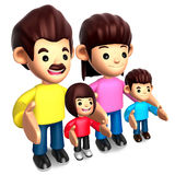 Standing in a row, four happy family Stock Photography