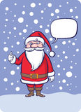 Standing Santa Claus thumb up with speech bubble vector illustration
