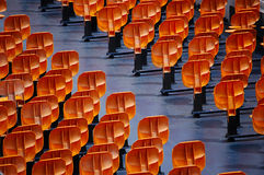 Standing seats on the boat. Seats on a sightseeing boat on the river seine in paris Stock Photo