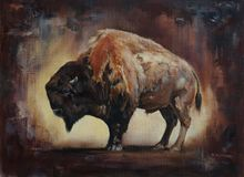 Standing bison oil painting Royalty Free Stock Photo