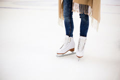 Standing on skating rink Royalty Free Stock Photography