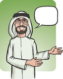 Standing smiling arab man showing direction. Vector illustration of standing smiling arab man showing direction Stock Photo