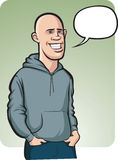 Standing smiling bald young man with speech balloon. Vector illustration of standing smiling bald man in hoodie and jeans with speech balloon Stock Photos