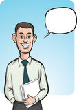 Standing smiling business person with speech balloon. Vector illustration of standing smiling business person with speech balloon - waist up composition. Easy Royalty Free Stock Image