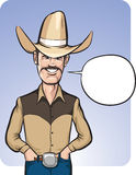Standing smiling cowboy with speech balloon. Vector illustration of standing smiling cowboy in hat with speech balloon - waist up composition. Easy-edit layered Royalty Free Stock Photo