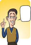 Standing smiling geek guy with speech balloon Royalty Free Stock Photography