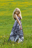 Standing smiling girl on meadow. Young girl is standing on a meadow in spring royalty free stock image