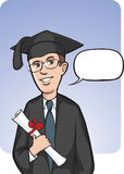 Standing smiling graduate with speech balloon. Vector illustration of standing smiling graduate with speech balloon. Easy-edit layered vector EPS10 file scalable Stock Image