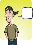 Standing smiling guy in baseball cap with speech balloon Stock Photos