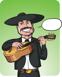 Standing smiling singing mariachi with speech balloon. Vector illustration of standing smiling singing mariachi with speech balloon. Easy-edit layered vector Stock Photo