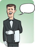 Standing smiling waiter in gloves with speech balloon. Vector illustration of standing smiling waiter in white gloves with speech balloon. Easy-edit layered Royalty Free Stock Image