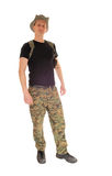 Standing soldier relaxed. Royalty Free Stock Images