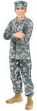 Standing soldier. A standing soldier wearing camouflage combat uniform with his arms folded stock illustration
