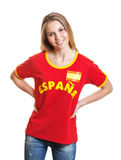 Standing spanish soccer fan showing laughing at camera Royalty Free Stock Photography