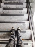 Standing on the stairs: detail Royalty Free Stock Photography