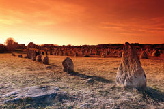 Standing stone in Carnac village Stock Photo