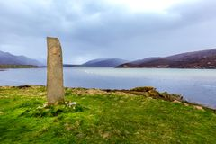 Standing Stone at Kyle of Durness. The standing stone at Kyle of Durness royalty free stock photo