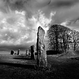 Standing Stone - Neolithic Monument UK. Neolithic standing-stone, one of many mysterious & huge ancient monuments erected thousands of years ago in the UK & Stock Photography