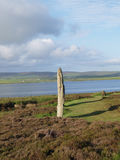 Standing stone Orkney Islands. Neolithic standing stone near loch, Orkney Islands, Scotland, United Kingdom stock images
