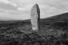 Standing Stone on Seefin slope. stock photography