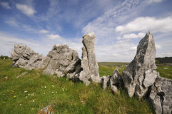 Standing Stones. In the grounds of Carran Church, The Burren, Co Clare, Ireland Royalty Free Stock Images