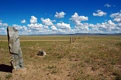 Standing stones. In Mongolian prairie Stock Photography