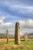 Standing stones. One of several ancient stone circles  that comprise the Machrie Moor complex, Isle of Arran, Scotland. The surviving stones of this one are Stock Photos