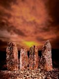 Standing stones. With star signs carved into them Stock Images