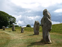 Standing stones of Avebury. A large stone circle surround the village of Avebury, England Royalty Free Stock Photos