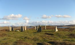 Standing Stones Callanish III. A stone circle near the famous standing stones of Callanish at a remote spot on the isle of Lewis royalty free stock photography