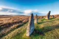 Standing Stones on Dartmoor Stock Photos