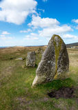 Standing Stones on Dartmoor. Standing stone rows at Merrivale on Dartmoor National Park in Devon Royalty Free Stock Image