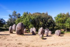 Almendres Cromlech, Ancient Megalithic Monument of Standing Stones royalty free stock images