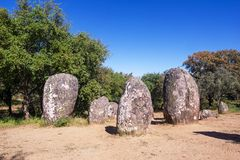 Almendres Cromlech, Ancient Megalithic Monument of Standing Stones royalty free stock image