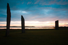 Standing stones of Stennes, Orkney, Scotland. Sunset at ancient standing Stones of Stennes, Orkney Islands, Scotland stock images
