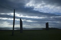 Standing stones of Stennes, Orkney, Scotland. Orkney's Standing Stones of Stennes stock photography