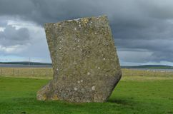 Standing Stones of Stenness, Neolithic megaliths in the island of Mainland Orkney, Scotland. The Stones of Stenness are five remaining megaliths of a henge, the Royalty Free Stock Photos