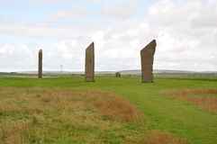 Standing stones of Stenness. The Standing Stones of Stenness is a Neolithic monument five miles northeast of Stromness on the mainland of Orkney, Scotland Royalty Free Stock Images