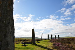Standing stones of Stenness. The Standing Stones of Stenness is a Neolithic monument five miles northeast of Stromness on the mainland of Orkney, Scotland Stock Photography