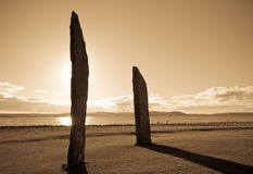 Standing Stones at sunset stock image