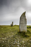 Standing Stones at Tout Quarry. On Portland in Dorset Stock Photography