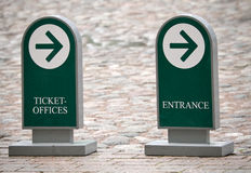 Standing street signs with arrows to the entrance Royalty Free Stock Photography