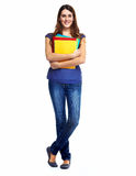 Standing student woman. Royalty Free Stock Photo