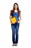 Standing student woman. Royalty Free Stock Images