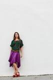 Standing stylish dress woman Stock Photography