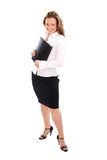 Standing successful business woman. Standing successful young attractive business woman in white shirt Royalty Free Stock Photo