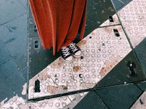 Standing on tactile paving street Royalty Free Stock Photo