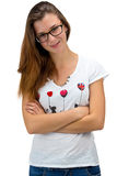 Standing teenager girl with glasses Royalty Free Stock Image