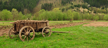 Traditional carriage. Standing traditional wooden farm carriage Stock Photos